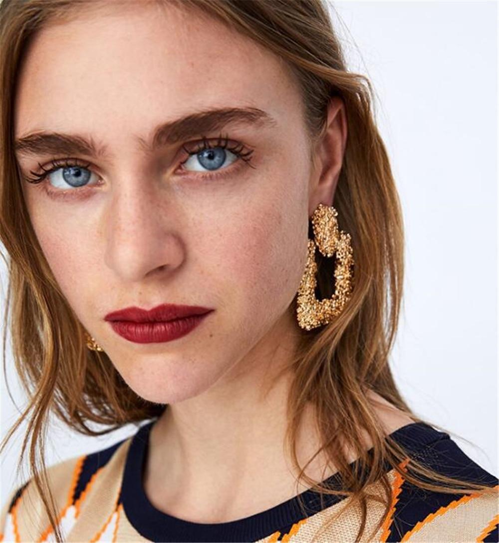 ECODAY Trendy Metal Earings Big Statement Earrings for Women Drop ZA 2019 Brincos Oorbellen Pendientes Mujer Jewelry