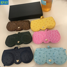 KPAY Ostrich Pattern Unique PU Leather Glasses Bag Multi-function Eyeglasses Case Cover Women Sunglasses Storage Protection Ins