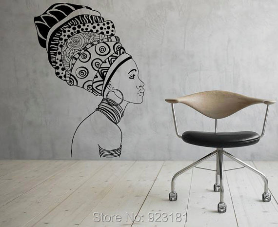 African Girl Silhouette Africa Wall Art Stickers Decal Home DIY