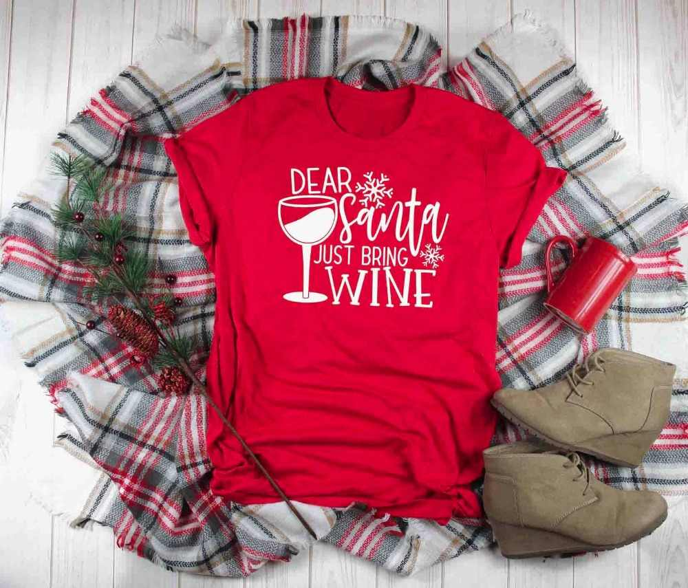 36181b0c54 Santa Bring Wine Christmas Shirt Casual Hight Quality Cotton Red Clothing T-Shirt  Funny Graphic