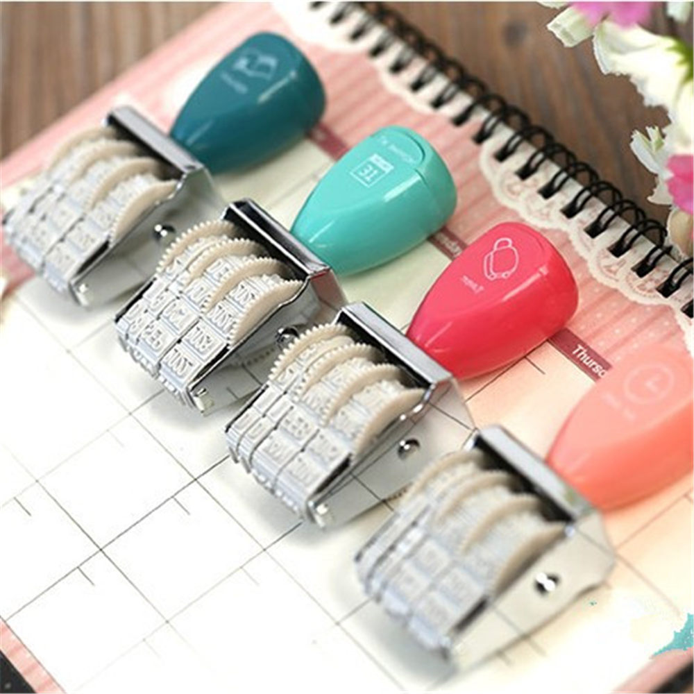 Vintage Retro Wooden Rolling Words and Date Scrapbooking DIY Stamps Wheel Rubber Dater Stamp Stationery Color Random