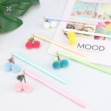 huaqi 4 pcs Fashion Bow Plush Tassel Cherry Pendant Gel Pen wish ball black ink pen