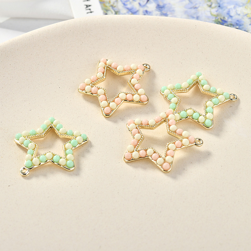 New Arrival Double Colors Jellly Jewelry Rhinestone paved Star Charms Gold Tone Plated Hollow Out Kawaii DIY Earring Pendants