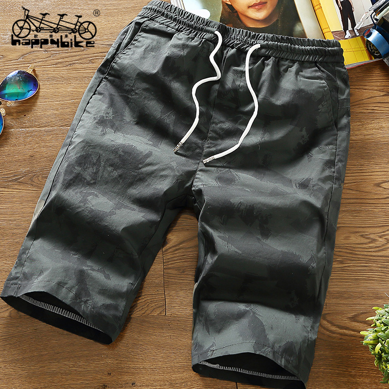 HappyBike Brands Men Shorts Military Fashion Camo Elastic Wait Men Short Pants In Summer Loose Work Shorts Male Clothing
