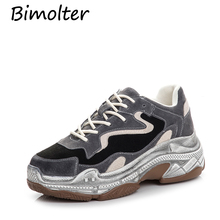 Bimolter New Women Genuine Leather Flats Platforms Shoes Woman Lace Up Casual Ladies Breathable Spring Sneakers NC063