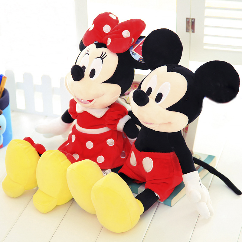 цены 1pcs/lot 2018 hot sale Lovely 30cm High quality Mickey or Minnie Mouse Plush Toy Doll for kids birthday Christmas gift