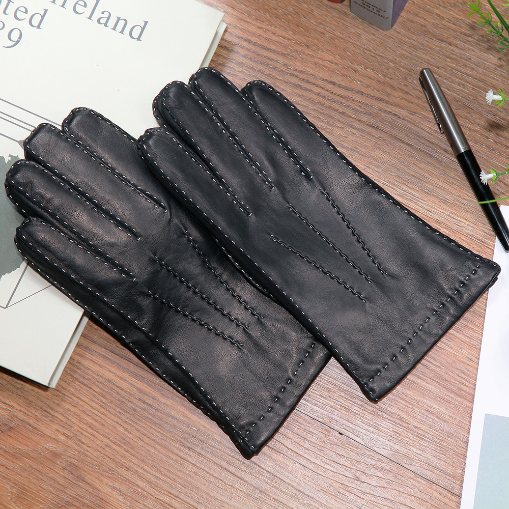Men's Genuine Leather Gloves Pure Hand Made Fashion Black Sheepskin Gloves Autumn Winter Warm Wool Knitted Lined XC-212