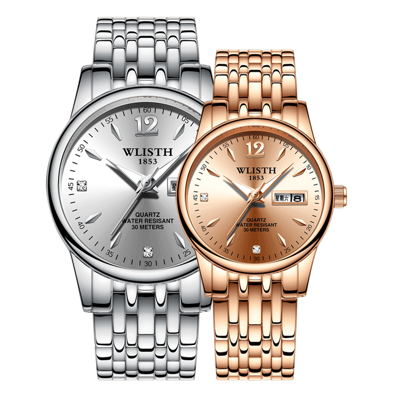 WLISTH Couple Watches Trend Quartz Stainless-Steel Waterproof Luminous Ladies Casual