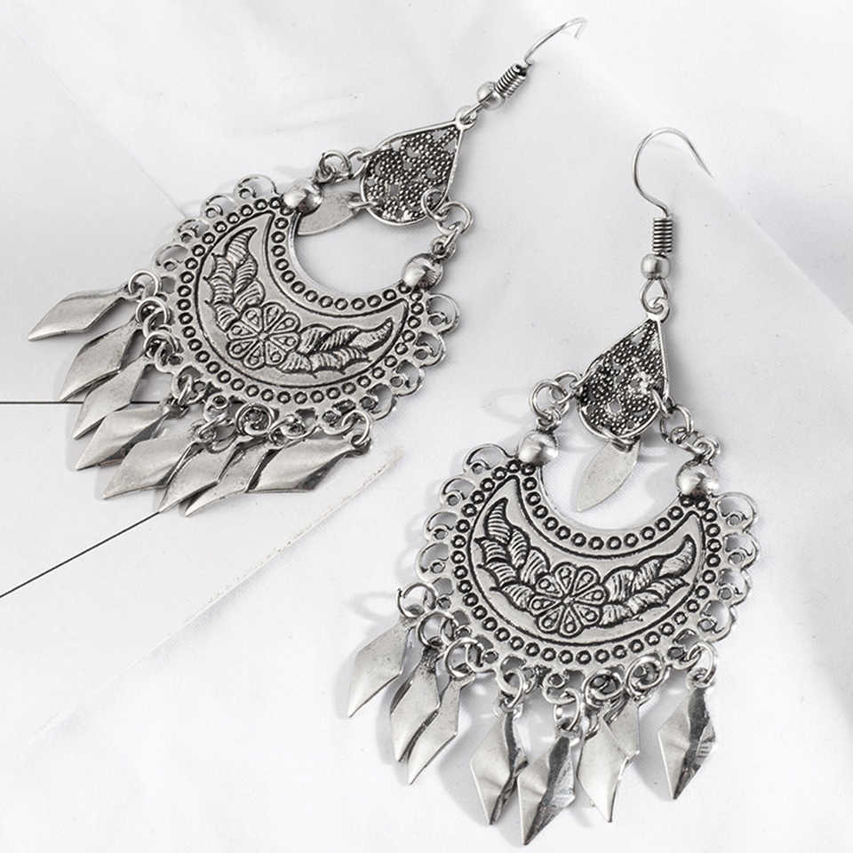 Indian jewelry Ethnic silver color metal tassel pendant earrings for women Bohemian moon shaped flower totem water drop earring