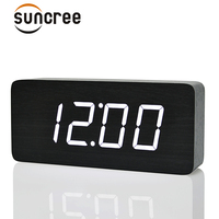 Suncree Big Number LED Wooden Table &Desk Alarm Clock with Temperature Wood Voice Activated Digital Table Clocks