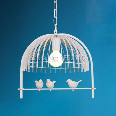 Lustre minimaliste cage en fer oiseaux en résine. Personnalité créative nordique salon chambre lampe déco art. Couleur noir/blanc