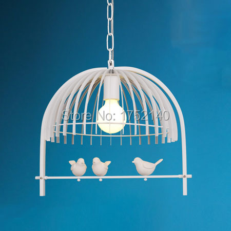 Minimalist  chandelier iron cage resin birds. creative personality Nordic living room bedroom lamp deco art. black / white color|iron cage|minimalist chandelier|chandelier iron - title=