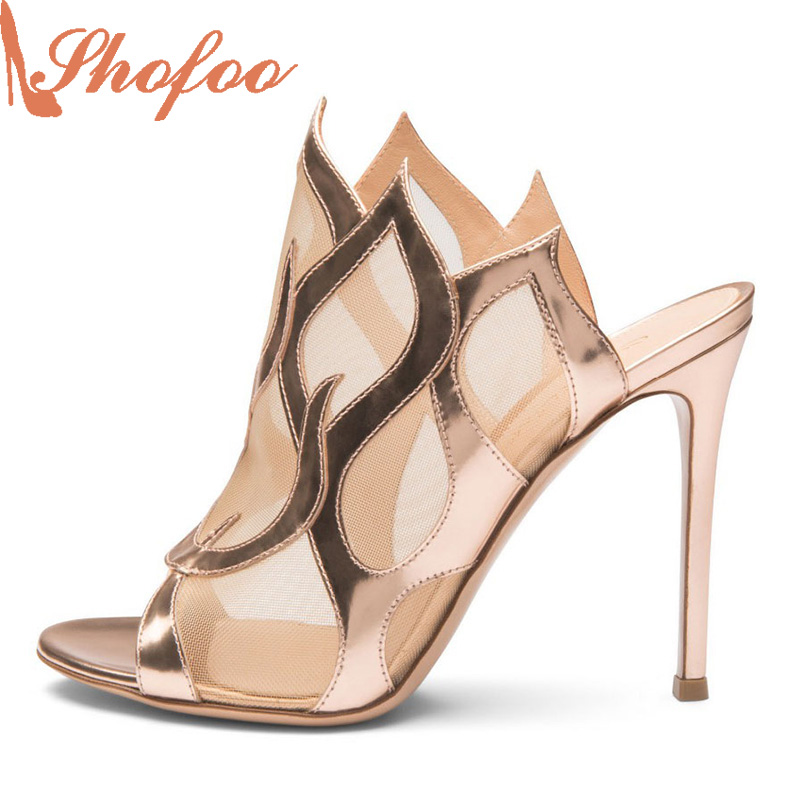ФОТО Shofoo 2017 Summer New Woman Peather Open Toe Mesh Lace Transparent Lovely Hot Fashion Handmade Womens Gold Shoes High Stiletto