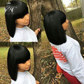 Full Lace Silk Straight Human Hair Wigs Short Bob Cut Lace Front Wig With Full Bangs Bob Glueless Full Lace Wig With Baby Hair