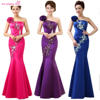 New Arrival Hot Sale 2015 Red Royal Blue Fuchsia One Shoulder Long Chinese Mermaid Embellished Satin
