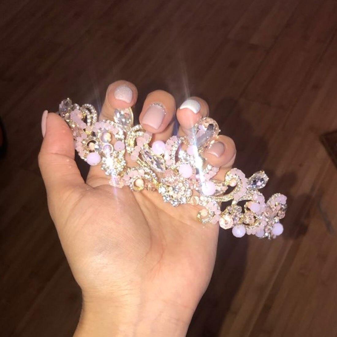 Unique 2018 New Fashion Crown Tiaras Light Gold Diadem Tiaras for Women Wedding Hair Accessories in Women 39 s Hair Accessories from Apparel Accessories