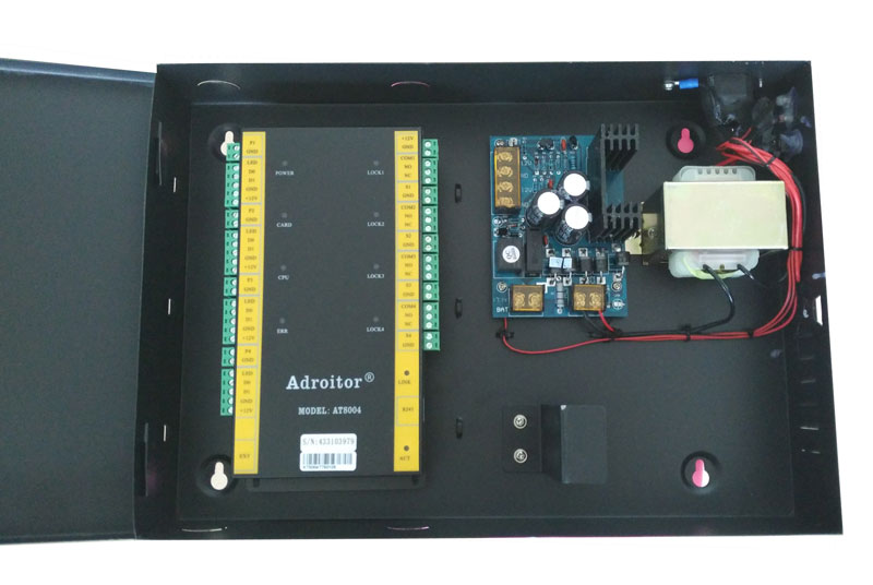 Hi-end 32-bit TCP/IP four Door Control kit , power case with battery space ,support software/ web / smart phone /tablet