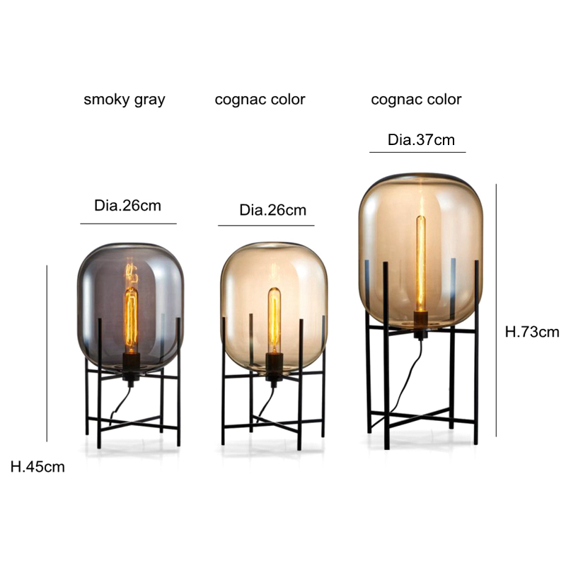 New arrival Creative simple floor lamp glass lampshade desk light black body new design home shop restaurant decoration lighting