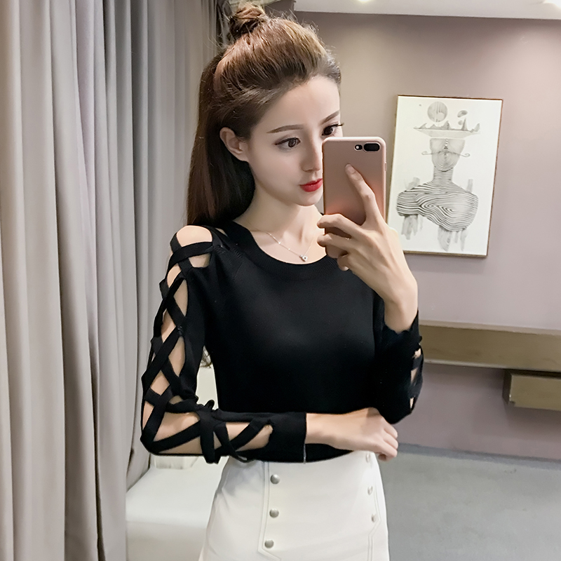 Autumn Spring Women O-Neck Knitted Hollow-out Long Sleeve Sweaters Pullovers Knitwear Woman Knitting Stretchy Tops 9-429 thumbnail