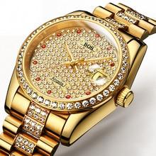 Montre Homme Men New Fashion Automatic Mechanical Watch Calendar Fine Steel Waterproof Gold Full Rhinestone Zegarki Meskie
