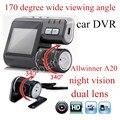 Carro Câmera de Lente dupla DVR Carro I1000 Câmera HD 1080 P Traço Cam com Gravador de câmera traseira do Veículo Do Carro Vista 170 graus de largura visualização