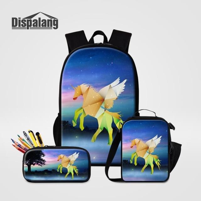 fa44972311 Dispalang Children s Backpack 3pcs Set School Bags Unicorn Animal Back Pack  Rucksack Lunch Box Pen Pencil