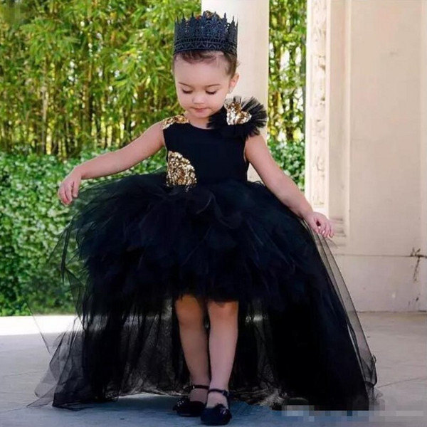 Black High Low 2019 Ball Gown   Flower     Girls     Dresses   With Gold Sequined   Flowers   Tulle Tutu sleeveless Tulle Tiered Skirts Communio