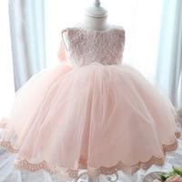 2017 New Summer Princess Girls Party Dresses for Christmas Flower Belt white Pink Tulle Girl Long sleeve Wedding kids baby dress