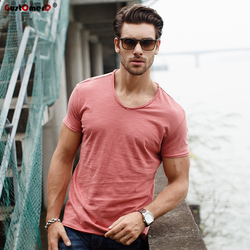 GustOmerD Brand T shirt Men's V-neck Slim Fit Pure Cotton T-shirt Fashion Short Sleeve T shirt Men's Tops Casual Tshirt M-XXL