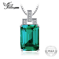Luxury 6 51ct Nano Russian Emerald Pendant Emerald Cut High Quality Solid 925 Sterling Silver Vintage