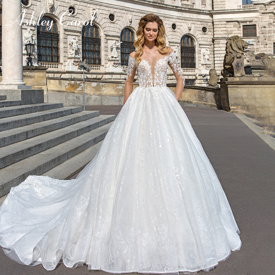 Ashley Carol Sexy Sweetheart Luxury Beaded Illusion Back Lace Wedding Dress 2019 Long Sleeve Court Train Princess Wedding Gowns