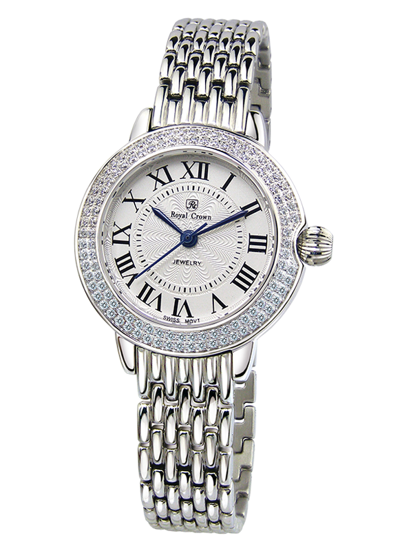 Royal Crown Jewelry Watch 6119S Italy brand Diamond Japan MIYOTA platinum Stainless Steel Bracelet Lady Hour Retro Clock цены