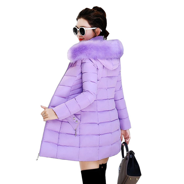 Winter Female Long Jacket Winter Coat Women Fake Fur Collar Warm Woman Parka Outerwear Down Jacket Winter Jacket Women Coat N204