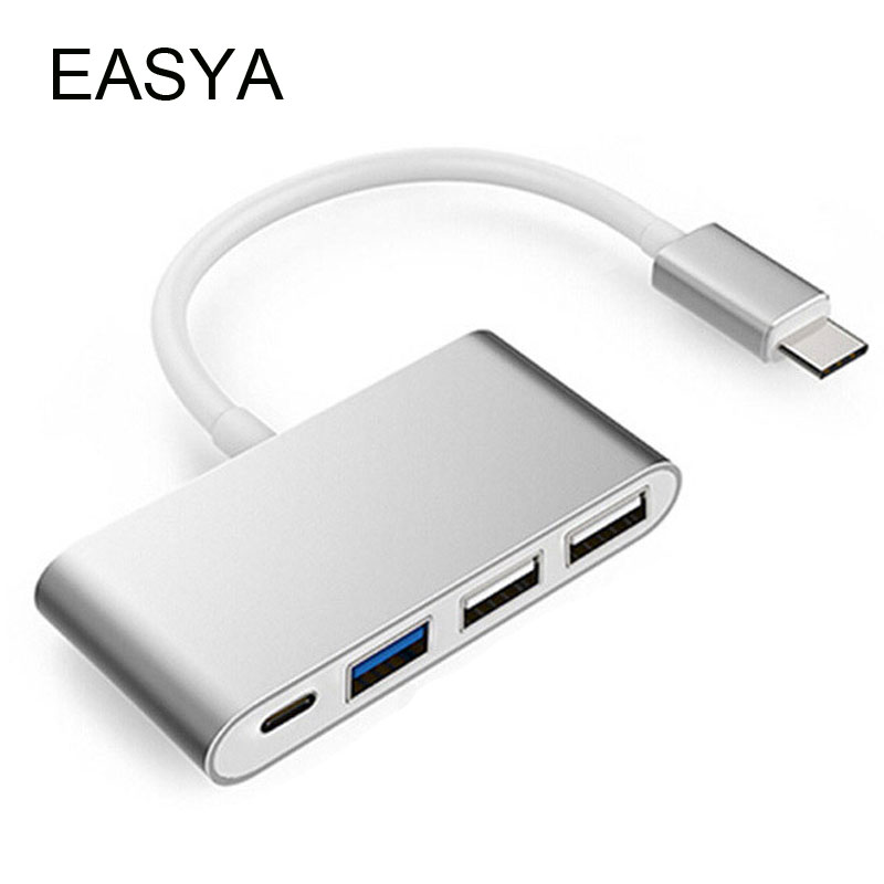 EASYA Thunderbolt 3 USB C to Hub Super Speed USB 3.0 Hub Adapter 4-in-1 USB-C Dock with 3 USB Ports Sliver for Macbook Pro аккумулятор canyon cne cpb100 10000mah white cne cpb100w