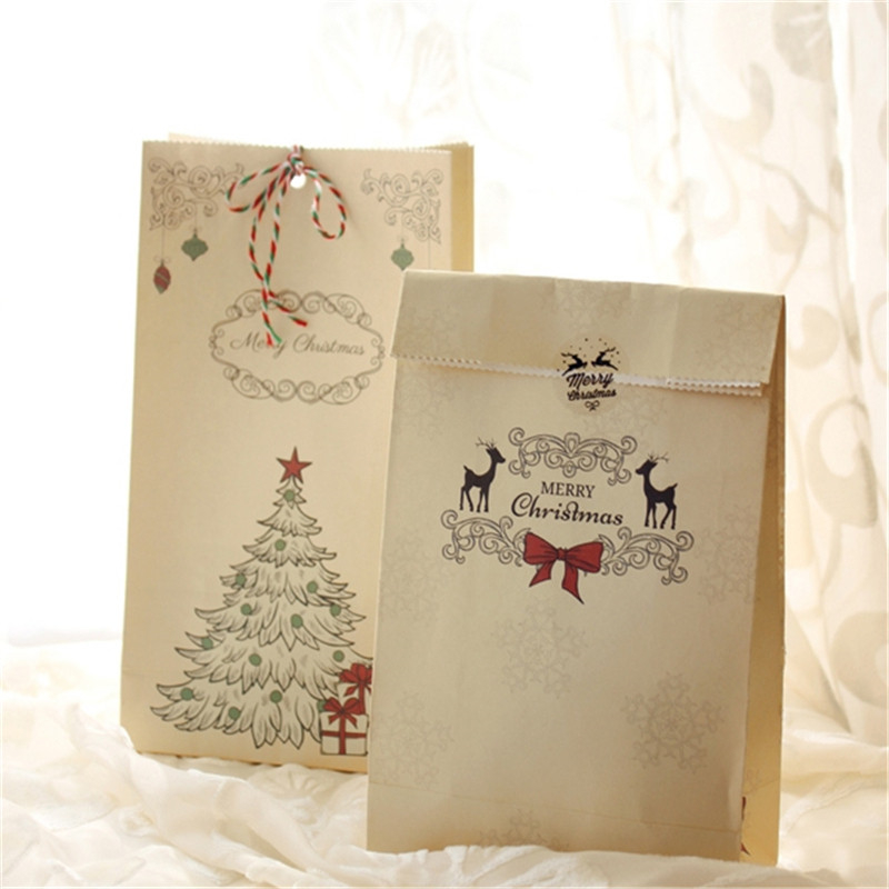 New 6pcs/set Kraft Paper Bag Merry Christmas Gift Bags Party Lolly Favour Bowknot Wedding Packaging 22x12x6cm Mix