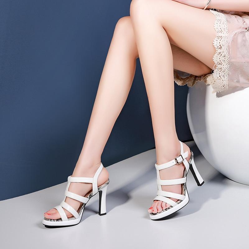 5ab010e8 Patrón Alto Y Negro Punta Para Mujer Plataforma Verano Abierta De Serpiente  Con Zapatos Tacón white Romanas ...