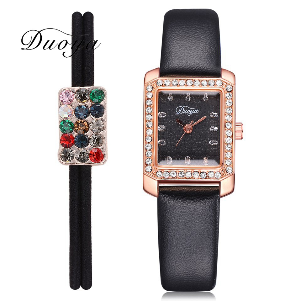 Duoya Brand Luxury Women Leather Strap Watch Quartz Wristwatch Square Diamond Hair Bands Women Ladies Dress Watches DY180 bs brand women luxury fashion rhinestone watches lady shining dress watch square bracelet wristwatch ladies diamond quartz watch