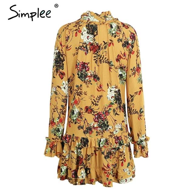 Simplee Vintage boho print beach summer dress women Ruffle long sleeve short dress Flower lace up red dress vestidos de festa