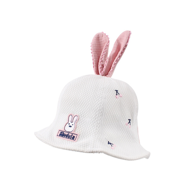 d2cca77e2a1 Cherry Cute Baby Hat For Girls Rabbit Ears Toddler Girls Hat White Pink Girls  Bucket Hat