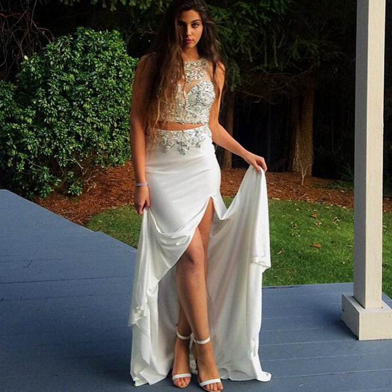 G615 White Slit Chiffon Prom Dresses 2018 Beaded Two Piece Evening Long Formal A-Line Dress Gown robe de soiree