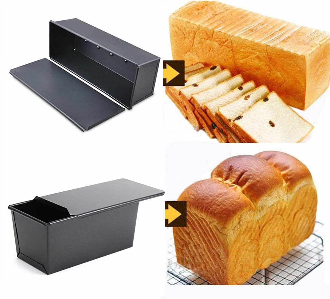 Bakeware Pullman Loaf Pan with Cover Rectangle Box Toast Bread Mold  Nonstick Quick Release Coating for Breakfast Low Tea Dinner