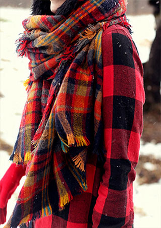 Drop Shipping New Fashion Women Blanket Scotland Oversized Plain font b Tartan b font Scarf Comfy