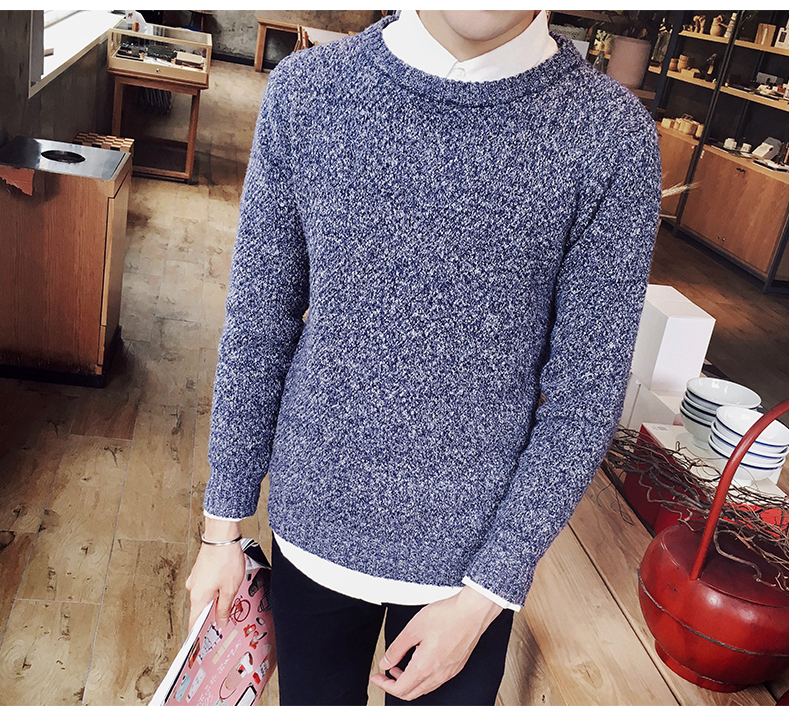 QA/_ Fashion Men O-Neck Knitting Sweater Long Sleeve Slim Fit Pullover Top Note