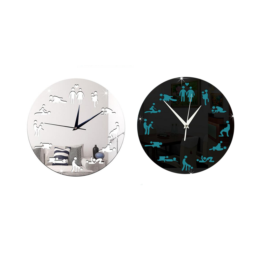 4PC DIY Creative Sex Pattern Acrylic Mirror Wall Clock Wall Stickers 3D Stereo Hanging Clock vinilos decoration New Fashion