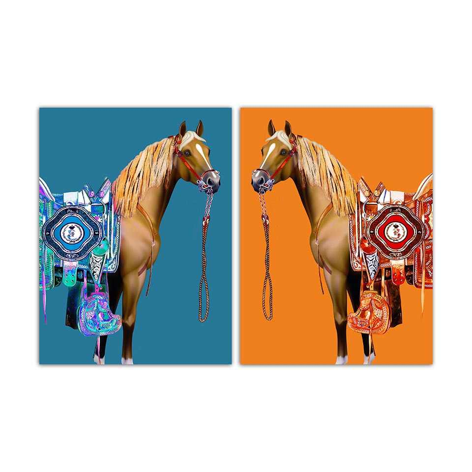 Estilo nórdico Animal Cavalo Pintura Abstrata da Arte Da Parede Da Lona Poster Decoração para Sala de estar B5246