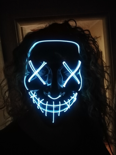 Viral Halloween Led Mask - White with Model