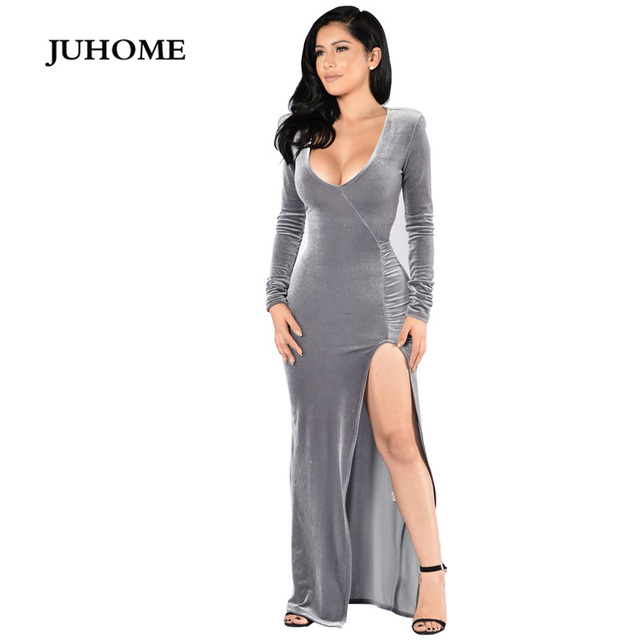 long sleeve split maxi dress 2018 autumn Floor-Length gown winter gray  velvet fashion dresses evening party vestido de festa 6526e76767bb