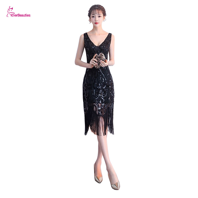 Short Mermaid   Evening     Dresses   V Neck Sequins Sleeveless   Evening   Gowns Formal Party Gowns Elegant Robe De Soiree
