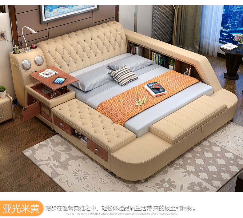 Genuino letto in pelle con altoparlante HA CONDOTTO LA luce di sicurezza di stoccaggio Moderna Letti Morbidi Casa Camera Da Letto cama muebles de dormitorio camas quarto