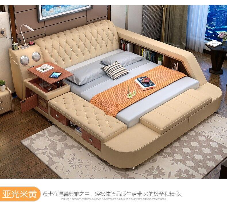 Véritable lit en cuir avec de stockage haut-parleur LED lumière Moderne coffre-fort Doux Lits Accueil Chambre cama muebles de dormitorio camas quarto